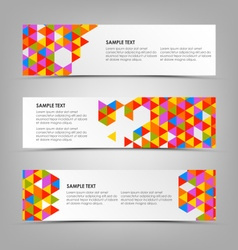 Abstract horizontal banners with colored triangles vector image