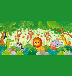 african animals in jungle cute cartoon vector image