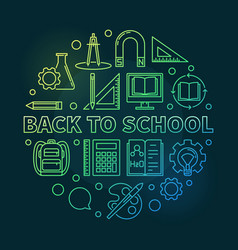 back to school circular colored outline vector image