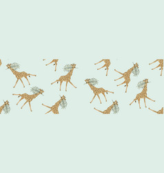 baner giraffe with palm leaf in its mouth vector image