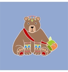 Bear Wearing Tribal Clothing vector image