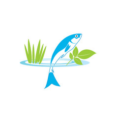 Blue fish in circle aquaponics system with fish vector