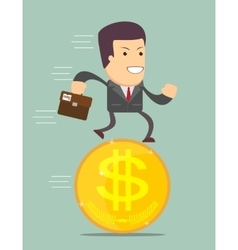 Businessman Stand On Coin vector