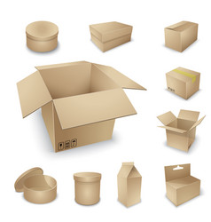 cardboard box set vector image