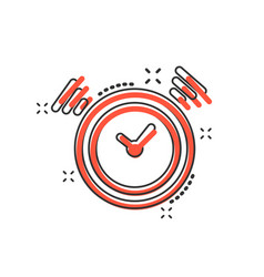 cartoon clock timer icon in comic style time vector image