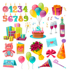 Celebration birthday cartoon set vector