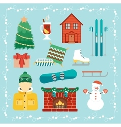 Christmas holidays icons Winter holidays vector image