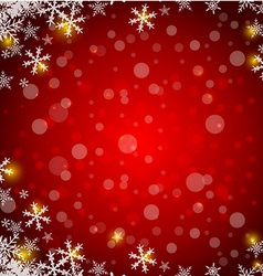 Christmas red background with snowflake and lights vector image