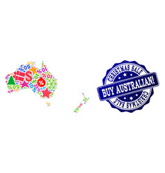 Christmas sale collage of mosaic map of australia vector