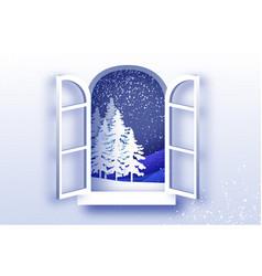 Christmas tree under the snowfall merry vector