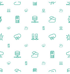 cloud icons pattern seamless white background vector image
