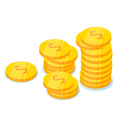 coins stack flat dollar vector image
