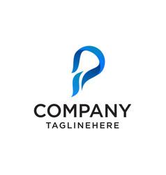 colorful logo design icon concept letter p vector image