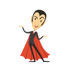 Count dracula vampire standing in suit and red vector
