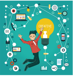 creative network infographics vector image