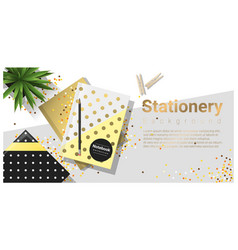 Creative scene with colorful stationery vector