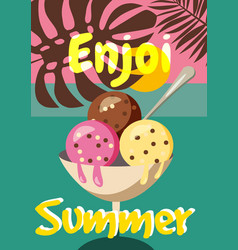 Cute creative card templates with ice cream theme vector
