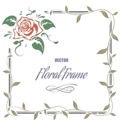 Decorative frame with roses and leaves vector