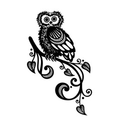 Decorative Owl on Ornate Branch vector