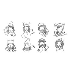 different faces girls in winter hats funny vector image
