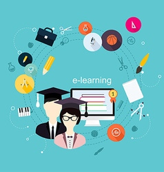 Education school university e-learning flat poster vector image