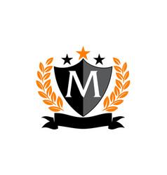 Emblem star ribbon shield initial m vector