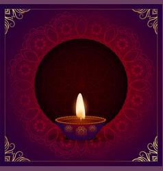 Ethnic decorative happy diwali diya festival card vector