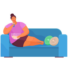 Fat woman is watching television while sitting on vector