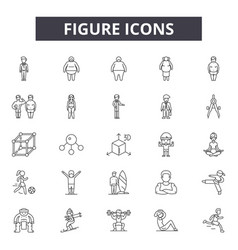 figure line icons signs set outline vector image