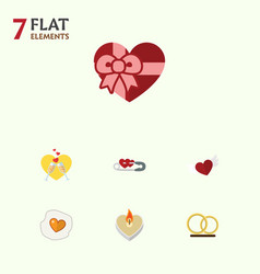Flat icon heart set of present fire wax wings vector