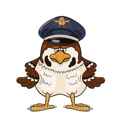 Funny cartoon sparrow in pilot service cap vector