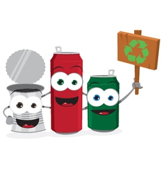 Funny Empty Cans Holding Recycling Sign vector