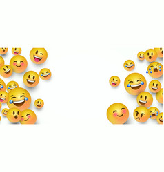 Funny yellow emoticon face copy space background vector