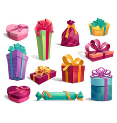 gift boxes with bows and ribbons holiday icons vector image