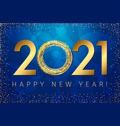 golden 2021 dark blue background vector image