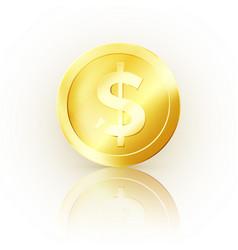 golden coin glossy metallic money business symbol vector image