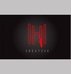 h monogram letter logo design brush paint stroke vector image