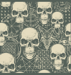 Hand-drawn seamless pattern on occult theme vector