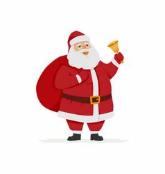 happy santa claus ringing a bell - cartoon vector image