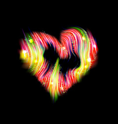 heart black icon flash red energy ray glow light vector image