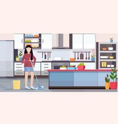 housewife mopping floor woman cleaner doing vector image
