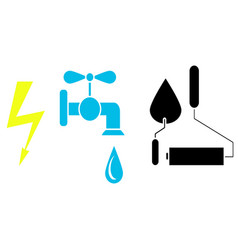 icons sign electricity water tap roller and vector image