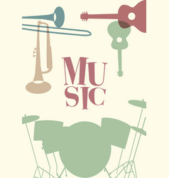 Jazz poster set of musical instruments typical vector