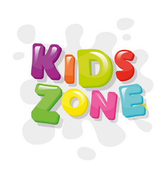 kids zone colorful banner cartoon letters and vector image