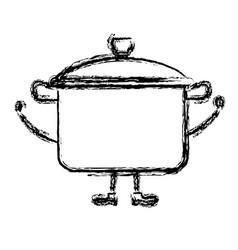 Kitchen pot kawai character vector