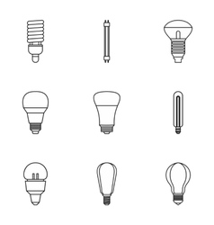 Lamp icons set outline style vector image