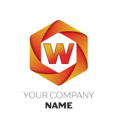 Letter w logo symbol on colorful hexagonal vector