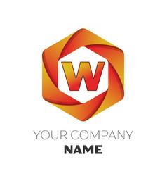 Letter w logo symbol on colorful hexagonal vector