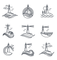 lighthouse line icon set vector image