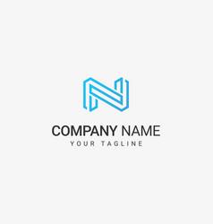 line art n logo template vector image